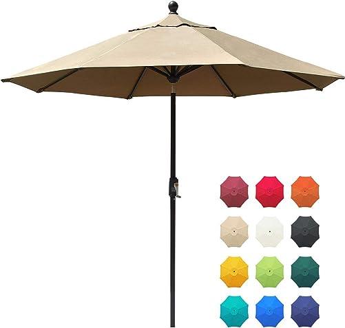 EliteShade Sunbrella 9Ft Market Umbrella Patio Outdoor Table Umbrella with Ventilation and 5 Years Non-Fading Top,Beige