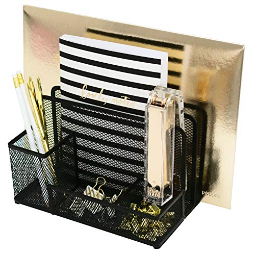 Office Supplies Desk Organizers and Accessories - Medium Black Wire Mesh 2 Tier Vertical File Holder with Pen Cup and Accessory Tray Desk Caddy ()