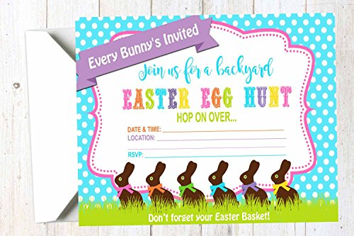 Chocolate Bunny Backyard Egg Hunt Party Supply Invitation with Envelopes (Set of 12)