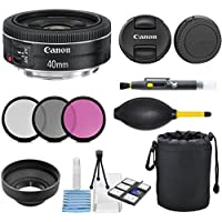 Canon EF 40mm f/2.8 STM Lens - Fixed (Black) with 3pc Filter Kit (UV, CPL, FLD) + Lens Pouch + Hood + Deluxe Cleaning Kit - International Version