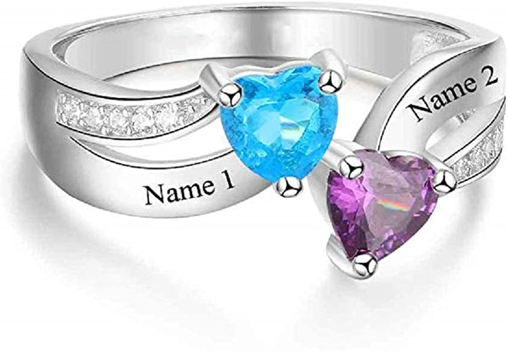 Amazon Com Snowinter Two Heart Shaped Birthstones Engraved Ring Personalized Custom Name Rings Promise Rings Made Gift For Her Jewelry