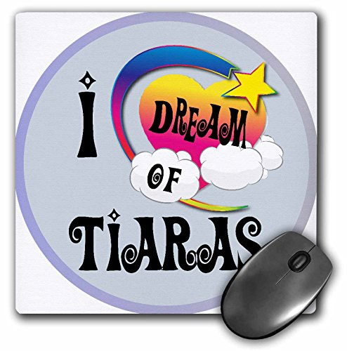 3dRose Dooni Designs Dreamer Dreaming Of Designs - Cute Girly Heart Star Clouds I Dream Of Tiaras - MousePad (mp_166176_1)