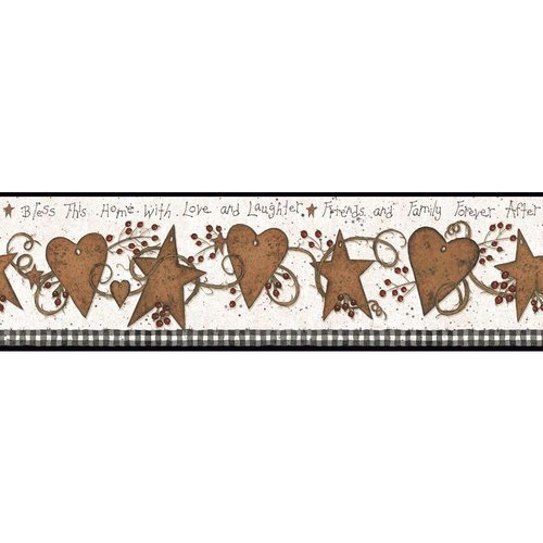 York Wallcoverings YC3333BD Welcome Home Love and Laughter Tin Star Border by York Wallcoverings