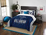 3pc NCAA Villanova University Wildcats Comforter Full/Queen Set, Grey, Blue, Team Logo, Team Spirit, College Basket Ball Themed, Fan Merchandise, Sports Patterned Bedding
