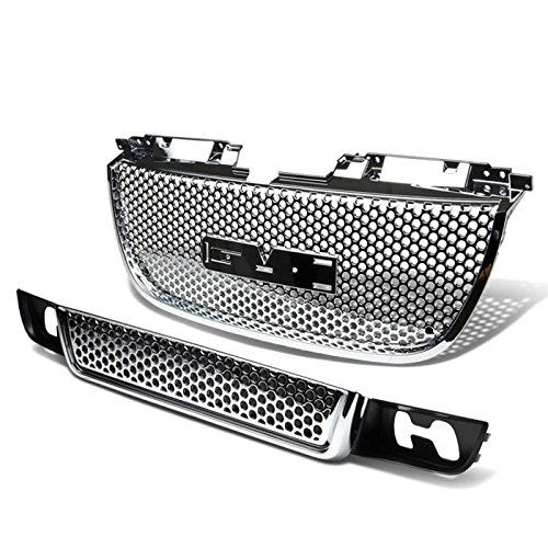 For 07-12 GMC Yukon ABS Plastic Round Mesh Style Front Upper+Lower Grille (Chrome) - GMT900