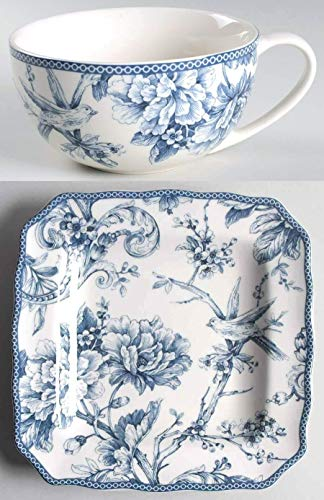 222 Fifth Adelaide Blue Multi-Purpose Oversized Cup & Square Plate Set (Handled Jumbo Soup Bowl Mug with 8