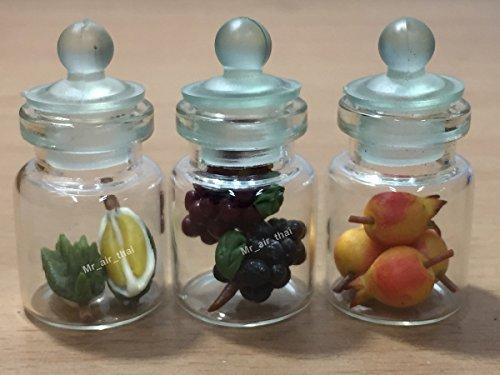 3pc Miniature Fruit Vegetable Food Grap Peach Dollhouse Fruit in Clear Glass Mini Bottle fruit Food #MF033