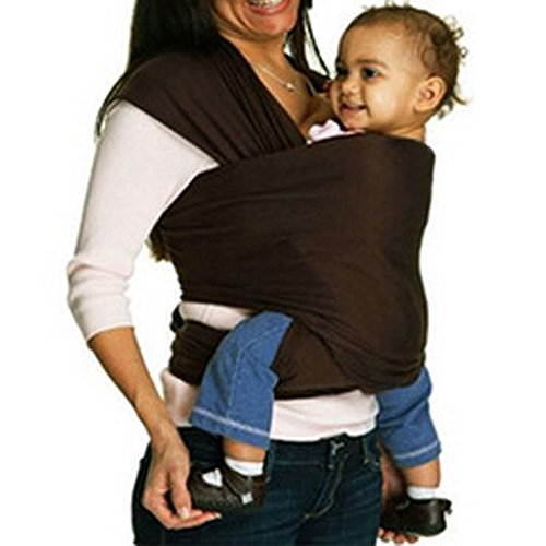 FirstWell Baby Sling Carrier Natural Cotton Nursing Baby Wrap Suitable for Newborns to 35 lbs Breastfeeding Sling Baby Holder Soft Safe and Comfortable Nice, Coffee