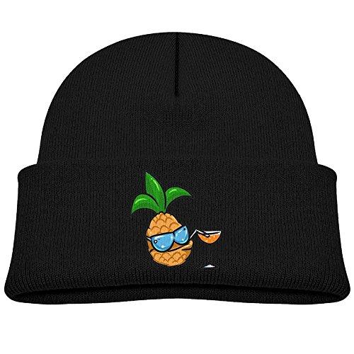 Tongbu Smiling Pineapple Fruit Kids Winter Warm Knitted Hat Fashion Wool Caps Beanie Children Girls Boys Knit Cap Black