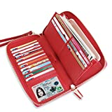 Womens RFID Blocking Wallet Real Leather Zip Around Clutch Large Travel Purse (Red)