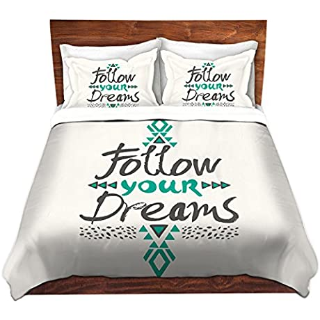 DiaNoche Designs Pom Graphic Design Follow Your Dreams Brushed Twill Home Decor Bedding Cover 8 King Duvet Sham Set