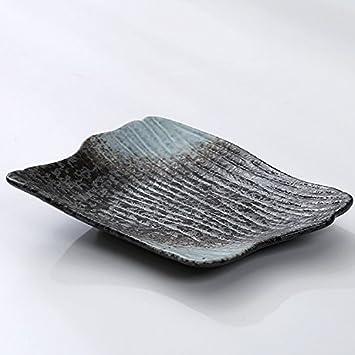 Cubertería de regalo de 12 pulgadas cuadrado de cerámica placa de disco en relieve japonés característica esmaltada arte personalizado cubertería negro, ...