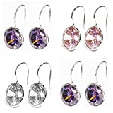 Round Cubic Zirconia Crystal Rhodium-plated Sterling Silver French Hook Dangle Earrings