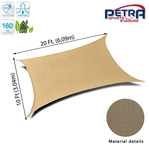 Petra's 20 Ft. X 10 Ft. Rectangle Sun Sail Shade. Durable Woven Outdoor Patio Fabric w/Up To 90% UV Protection. 20x10 Foot. (Desert Sand) by Petra Outdoor