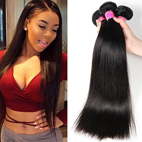 VRBest Virgin Brazilian Straight Human Hair Extensions 3 Bundles Unprocessed Brazilian Virgin Hair Weave Bundles Natural Black Color (10 12 14) (Best Black Hair Dye For Brazilian Weave)