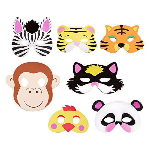14 Pcs Animal Masks Assorted Foam Zoo Animal Masks for Kids Party Supplies