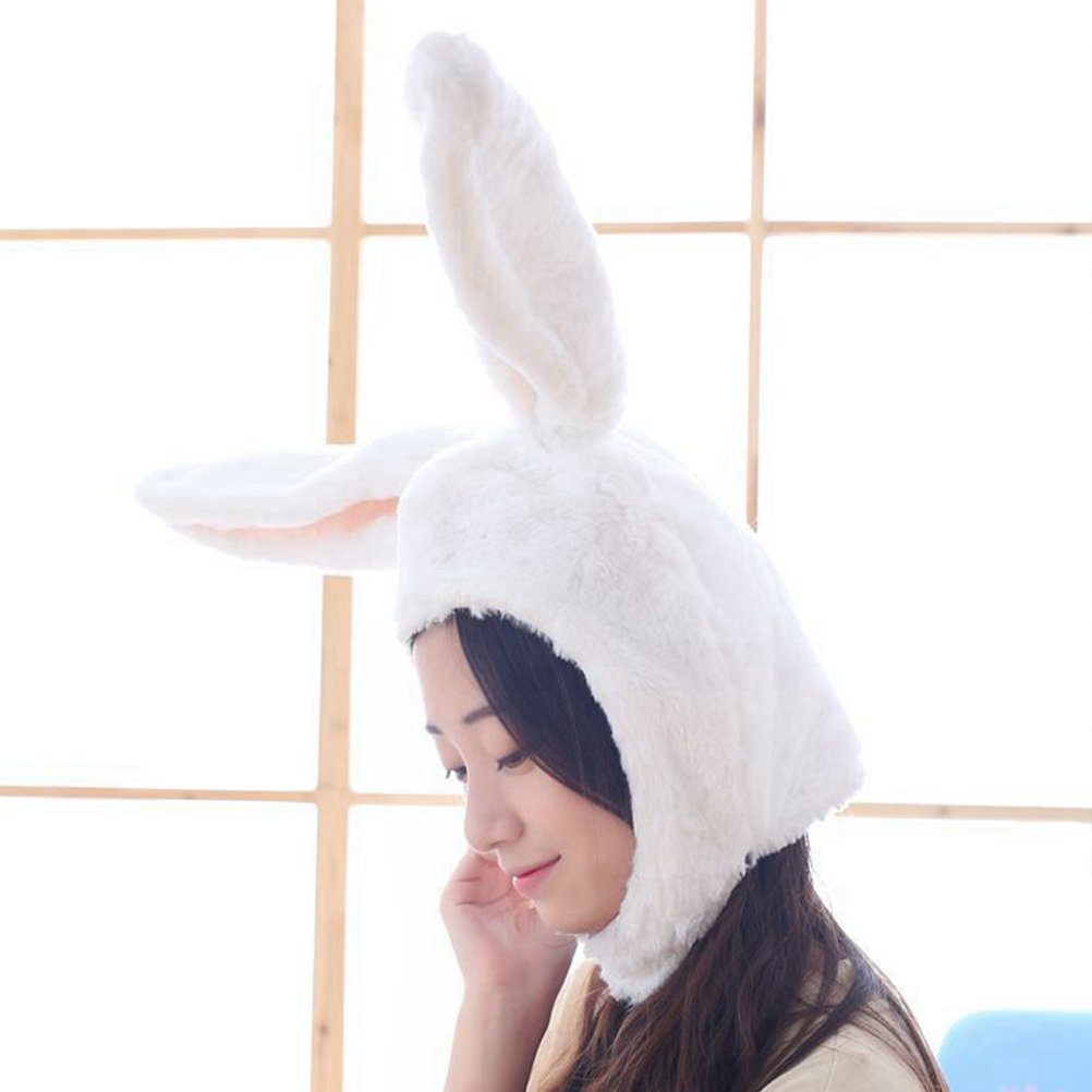 Amosfun Rabbit Headwear Cartoon Animal Hat Movable Ear Plush Cute Hat for Women Girls (White) by Amosfun (Image #8)