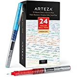 Arteza Rollerball Pens Fine Point, Set of 24 Colored Pens with Liquid Ink, Extra Fine 0.5 mm Needle Tip Pen, Make Precise Lines for Writing, Notetaking, and Drawing
