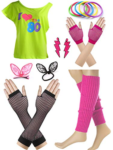 I Love The 80s Fans Disco Costume Accessories Set -
