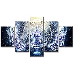 "VIIVEI Buddha Psychedelic Trippy Wall Art Canvas Prints Artwork Home Decor Decal for Living Room Pictures 5 Panel Large HD Printed Painting Framed Ready to Hang (60"" Wx32 H, 7)"