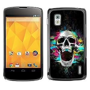 Qstar Arte & diseño plástico duro Fundas Cover Cubre Hard Case Cover para LG Google NEXUS 4 / Mako / E960 ( Skull Neon Scream Teeth Skeleton Colorful)