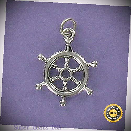 Ship Wheel Charm Sterling Silver for Bracelet Ocean Nautical Captain Steer Boat DIY Handmade Ornament Crafts