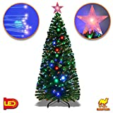 Strong Camel Deluxe 7' Artificial Christmas Tree w Multi-color Optical Fibers 270 Pcs Branch tips