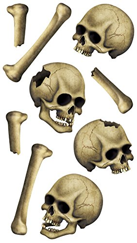 : Skulls & Bones Peel 'N Place Party Accessory (1 count) (9/Sh)