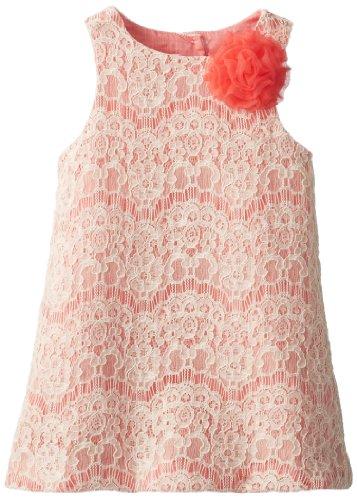 Pippa & Julie Girls 2-6X Wavy Lace Sheath Dress, Coral, 6