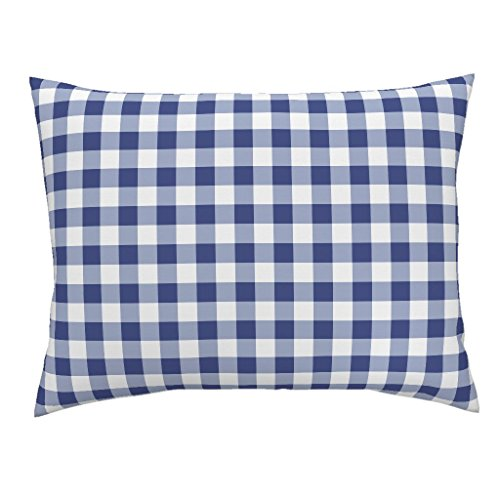 Roostery Gingham Euro Knife Edge Pillow Sham Check Blue and White Savoy Cobalt Willow Ware by Peacoquettedesigns 100% Cotton Sateen