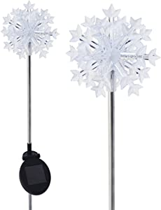 Solaration Christmas Garden Outdoor Decor Lights, a Pack of 2 Snowflakes Stake Lights