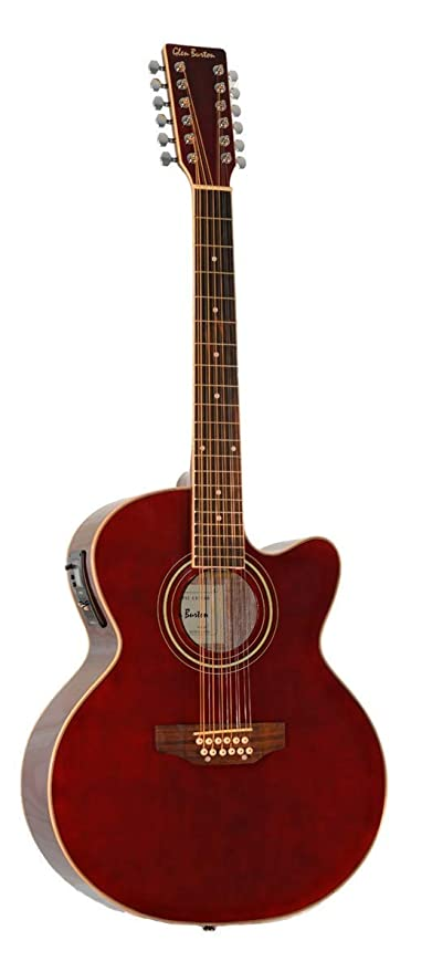12 String Acoustic Electric Burgundy Cutaway Jumbo Guitar Combo w Gig Bag and Accesories. Guitarra