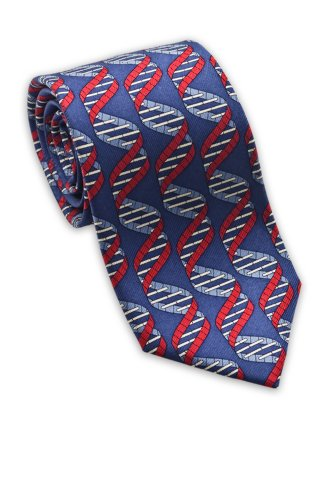 Josh Bach Men's DNA Double Helix Molecule Silk Necktie, Made in USA (Dna Silk Tie)