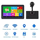 Keenso 7inch Touch Screen GPS Navigation Android 4.4 1080P DVR 159 Degree Wide Angle Recorder with Bluetooth Lifetime Map Update Transmitter WiFi 512MB 8G for Car Trucks Vehicles(Europe)
