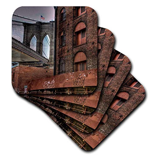 3dRose Brooklyn Bridge, Dumbo, American Flag on Top of Bridge Ceramic Tile Coasters (Set of 4)