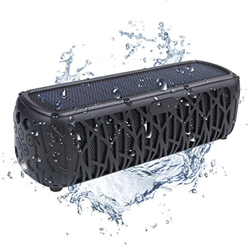 Solar Bluetooth Speaker Portable Outdoor Bluetooth IPX5 Waterproof Speaker with 5000mAh Power Bank,60 Hours Play Time Dual Speaker with Mic,Superior Stereo Sound with Bass Home Wireless Speaker-Black
