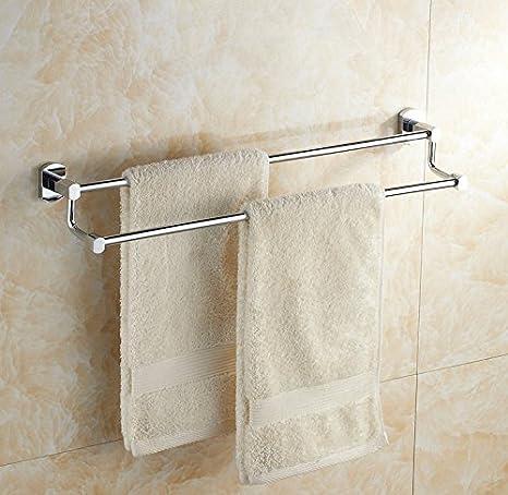 EHTF Titular de toallas de baño de pared toallero de acero inoxidable porta toalla de baño Toalla de mano doble de acero inoxidable titulares, 65 cm.