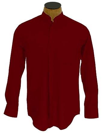 Collarless Black Shirt