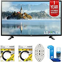 LG 49 1080p Full HD LED TV 2017 Model (49LJ5100) with 2x 6ft High Speed HDMI Cable Black, Transformer Tap USB w/ 6-Outlet, Universal Screen Cleaner for LED TVs & CPS 1 Year Extended Warranty