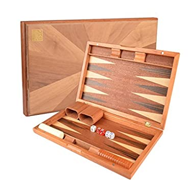 "17"" Backgammon Game Set w/ Wood Inlay Board and Accessories"