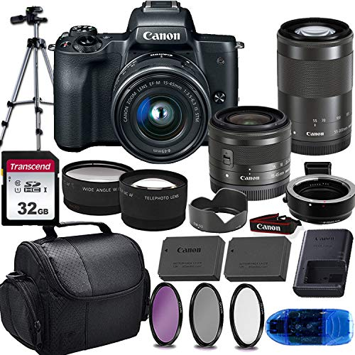 Canon EOS M50 Mirrorless Digital Camera (Black) & 15-45mm STM + 55-200mm STM Lens w/EOS M Mount Adapter + 32GB Transcend Memory Card, Shoulder Bag & Essential Accessory Bundle