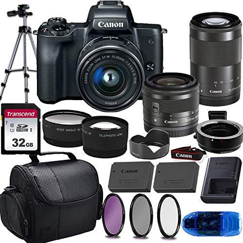 Canon EOS M50 Mirrorless Digital Camera (Black) & 15-45mm STM + 55-200mm STM Lens w/EOS M Mount Adapter + 32GB Transcend Memory Card, Shoulder Bag & Essential Accessory Bundle