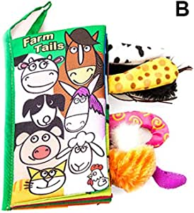 kelebin Soft Baby Cloth Books Cartoon Animal Touches and Feel Crinkle Tail Books for Babies Infants Toddler Early Education
