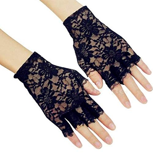 (DreamHigh Women Wrist Length Lace Half Finger Gloves (Black))