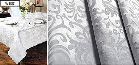 KEUY qualità tovaglia tovaglia rettangolare Antimacchia Idrorepellente Dimensione e colore a scelta, bianco, 140 x 160 cm