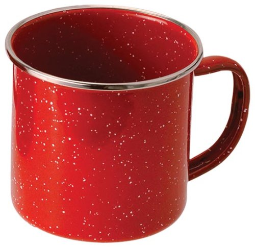 GSI Outdoors 4208 Red Stainless Steel Rim Enamelware Cup (Stainless Steel Rim Enamelware Cup)