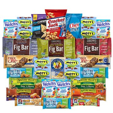 Healthy Bars & Snack Care Package Variety Pack Bulk Sampler Includes Popcorners, Cracker Jack, Pirates Booty, Chex Mix, Mott's, Welch's, Fig Bar, Fiber One, Nature Valley, Nutrigain, Quaker Chew by Veratify