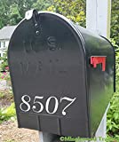 Set of Two - Mailbox Numbers 8'' x 2'' Vinyl Decal Sticker House Home Address Custom - White
