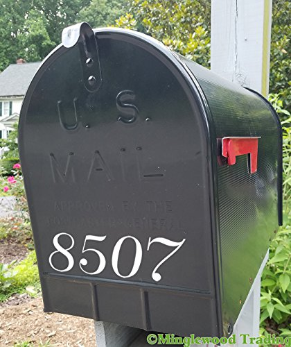 SET OF TWO - MAILBOX NUMBERS 8' x 2' Vinyl Decal Sticker House Home Address CUSTOM -- WHITE