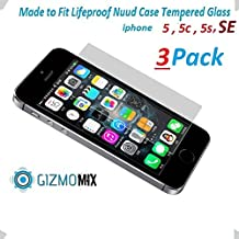 [3PACK] Lifeproof Nuud HD Tempered Glass Screen Protector For iPhone 5 5s 5c SE nuud Case - Gizmomix Inc